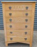 SOLD - Limed Oak Tall Narrow Chest of Drawers